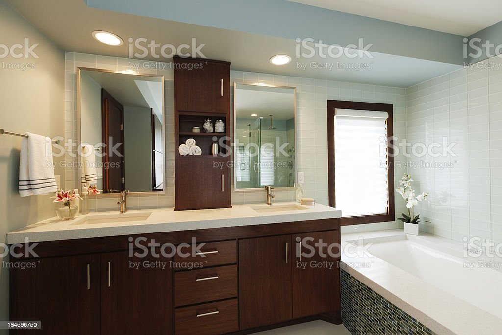Vanity Sink  Mirror Bathtub of Modern Home Bathroom Design royalty free stock photo Of