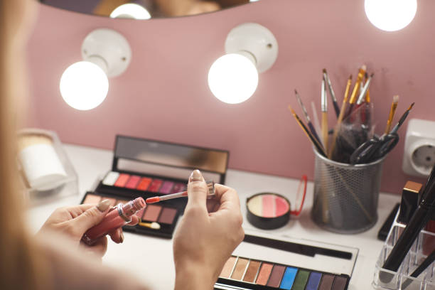Vanity Table with Make Up Products Close Up stock photo