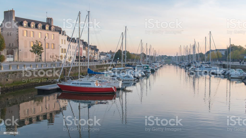 Vannes harbor in Brittany stock photo