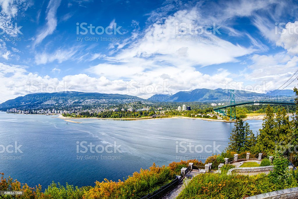 Vanouver Skyline at Prospect Point in Stanley Park, Canada stock photo