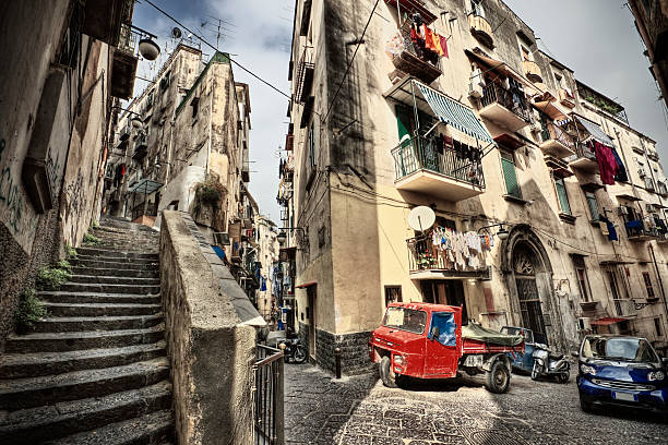 Vantage point shot of the streets of Naples in Italy Wide angle street scenic from the crowded neighborhoods of Naples' Spanish Quarter. davelongmedia stock pictures, royalty-free photos & images