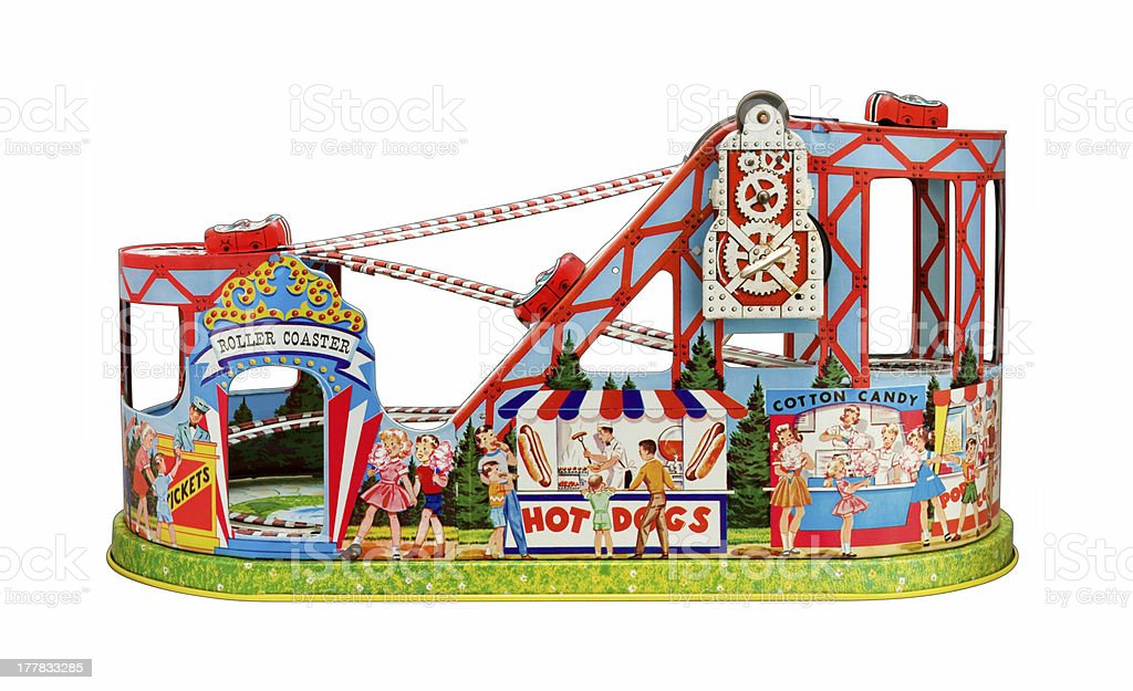 Vantage Toy Roller Coaster with a clipping path royalty-free stock photo