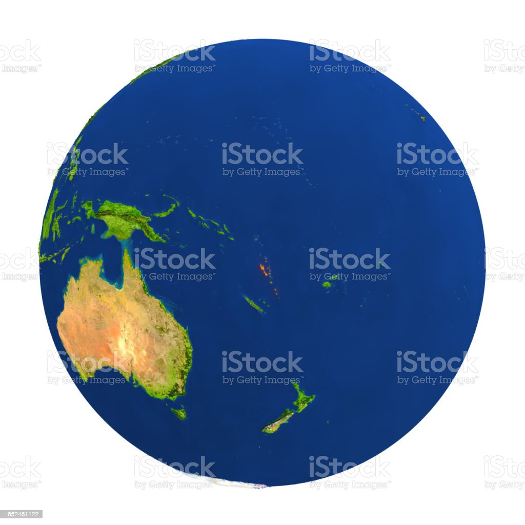 Vanuatu highlighted on Earth stock photo
