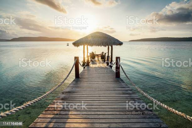 Vanuatu Romantic Sunset Jetty Efate Island Stock Photo - Download Image Now