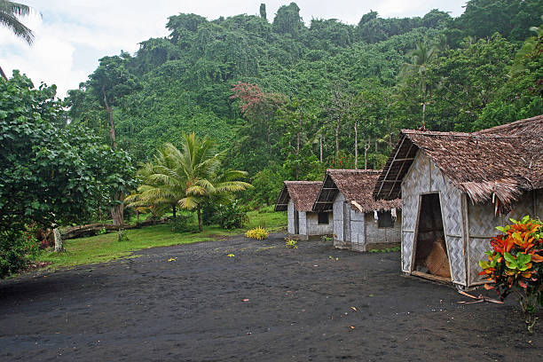 Vanuatu village Village of bamboo huts on island of Sola in Republic of Vanuatu vanuatu stock pictures, royalty-free photos & images