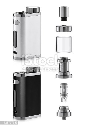 1137088939 istock photo Vape electronic cigarette with atomizer components 1128727335