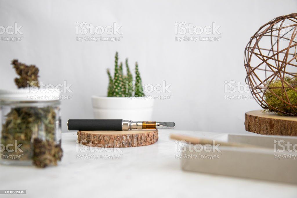 Vape Pen, Shake, Joint, Buds - Cannabis Dispensary Products stock photo
