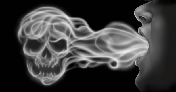 Vaping Danger Vaping danger and toxic air health risk as a person exhaling steam smoke or vapor shaped as a human skull from an electronic cigarette in a 3D illustration style. nicotine stock pictures, royalty-free photos & images