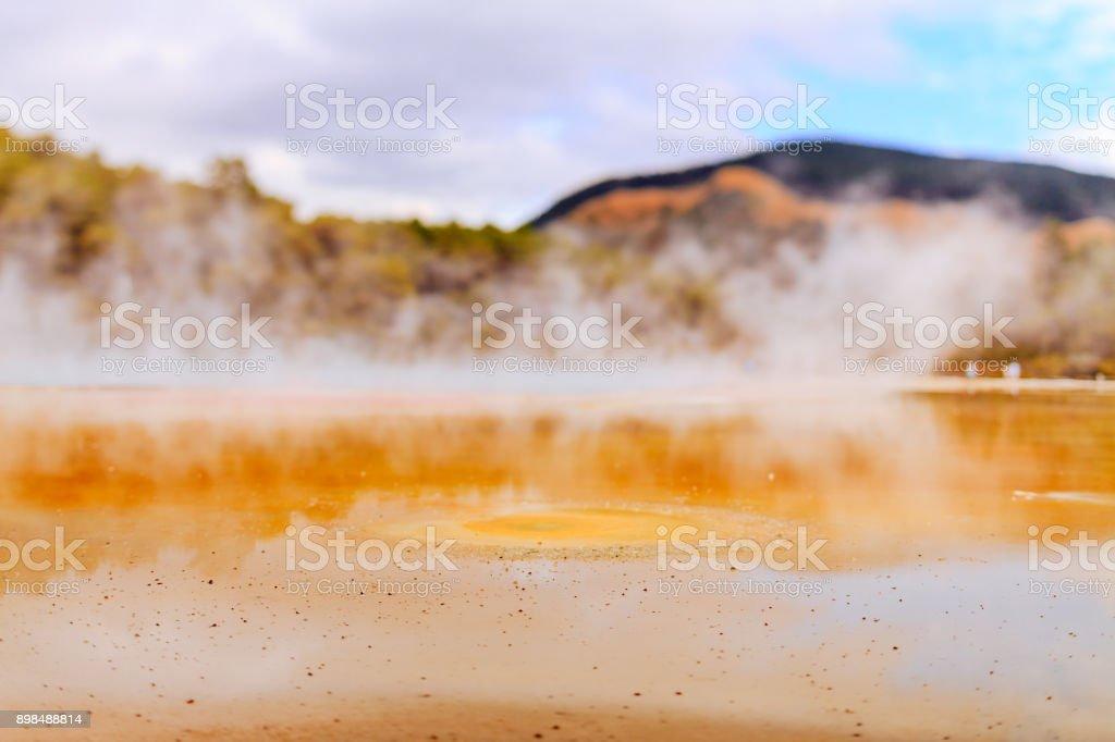 vapor champagne pool - Wai-O-Tapu park stock photo