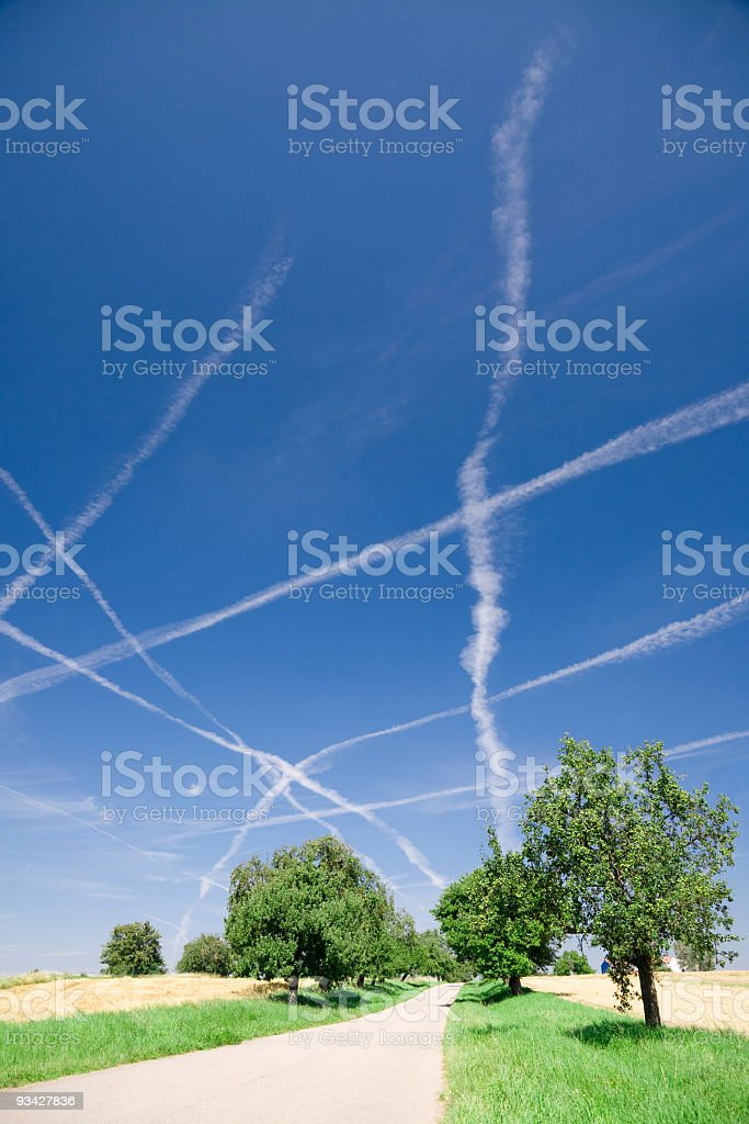 Vapor Trails caused by Air Traffic royalty-free stock photo