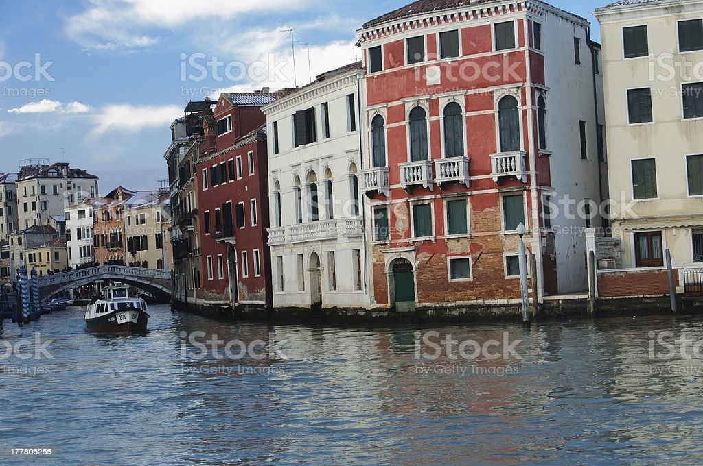 vaporetto in the Grand Canal, Venice going under  bridge royalty-free stock photo