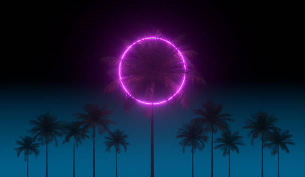 3D vaporwave render background with neon circle, palms and night blue sky. Synthwave 1980s rentowave illustration. stock photo