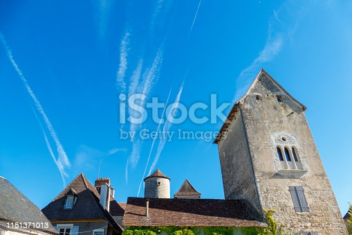 Vapour trails in the blue sky caused by jet airplanes