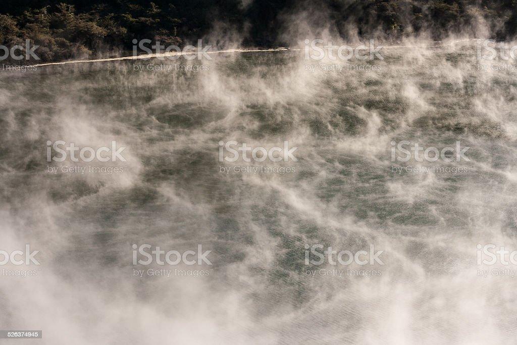 vapours above volcanic lake in Waimangu stock photo
