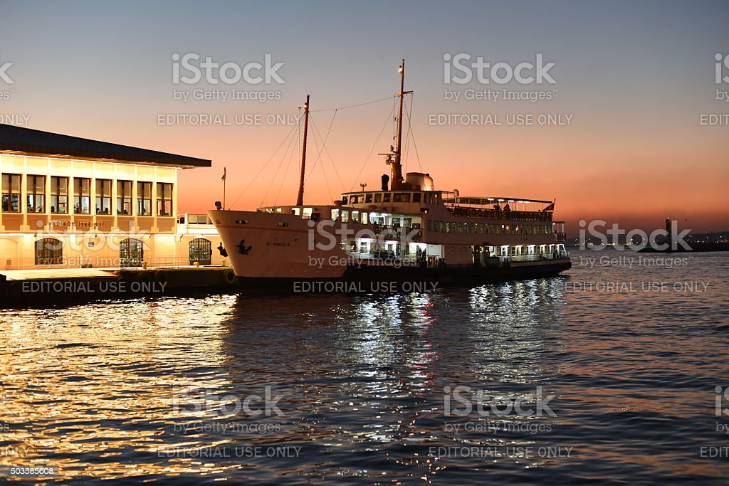 vapur at the port in the evening - Istanbul stock photo