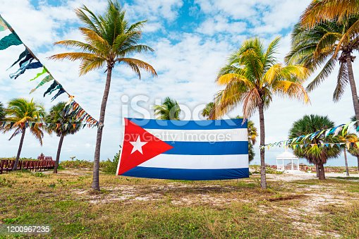 A Cuban flag in the wind next to a palm tree. Varadero beach. A large flag of Cuba is strung between palm trees, on the beach of the Caribbean sea, against a cloudy sky