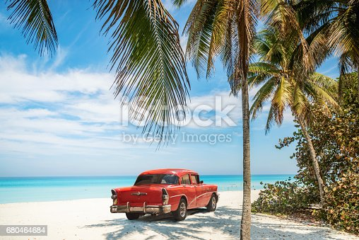 Old red vintage car on Varadero Beach in Cuba