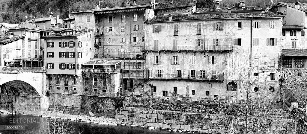 Varallo Sesia. Black and White royalty-free stock photo