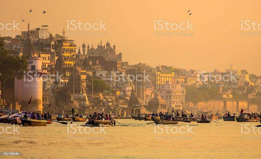 Varanasi at sunrise India stock photo