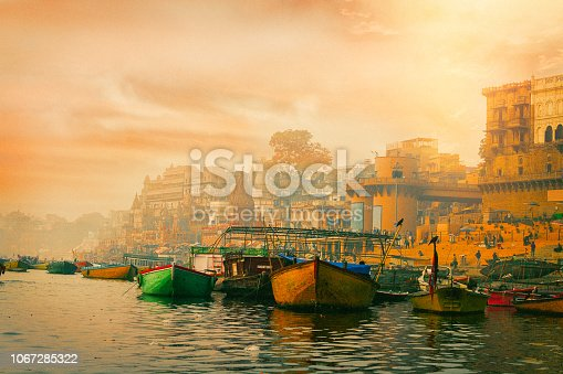 View of the Ganges river and Varanasi at sunrise. India