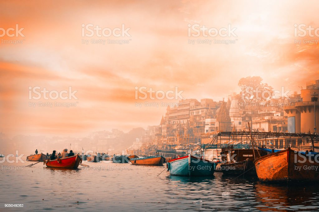 Varanasi at sunrise stock photo