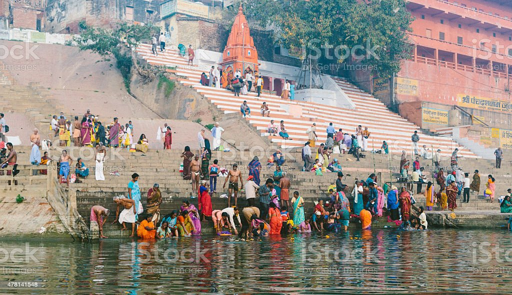 Varanasi Bathers stock photo