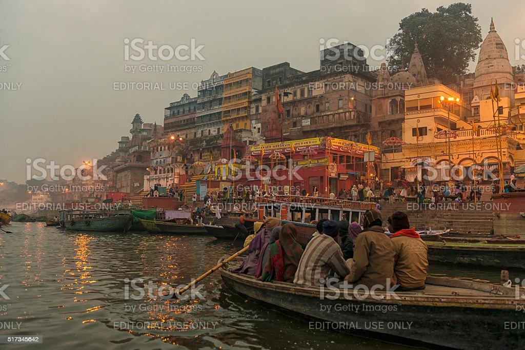 Varanasi burning grounds at night stock photo