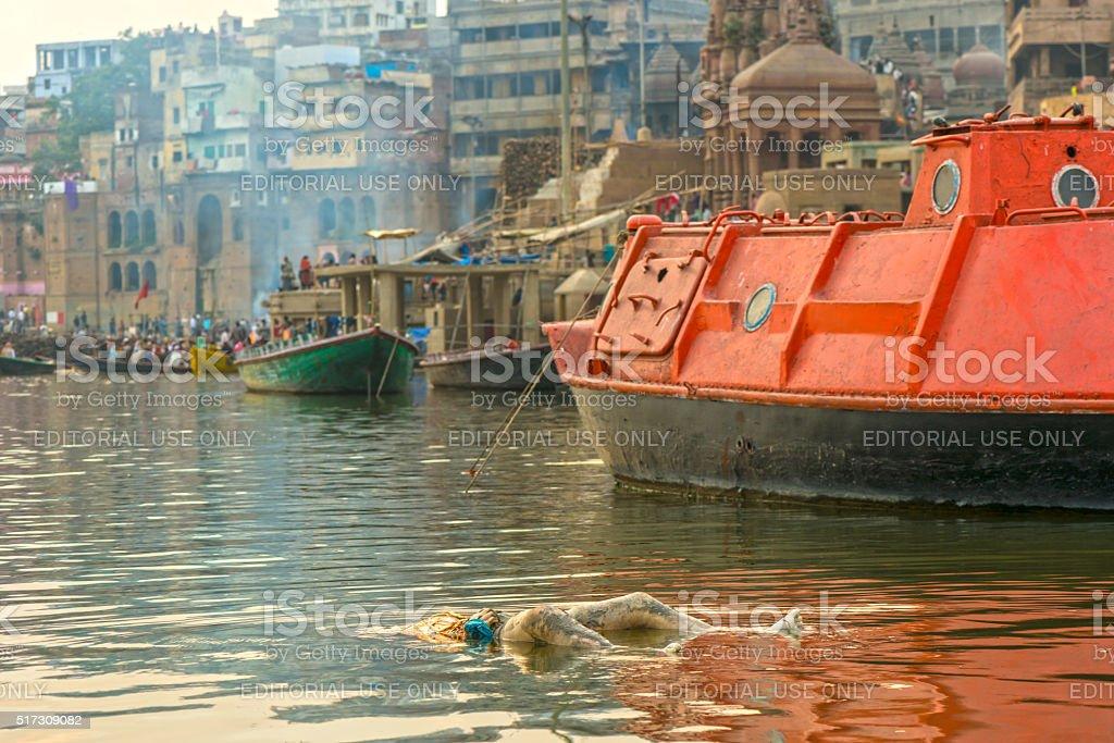 Varanasi burning grounds stock photo