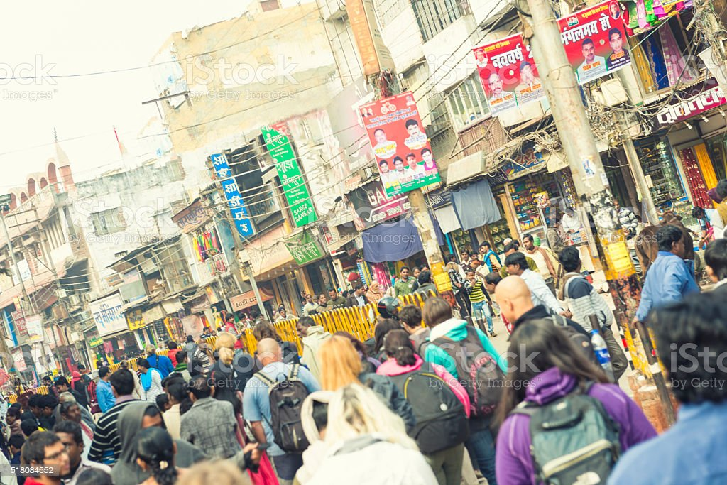 Varanasi crowded main street stock photo