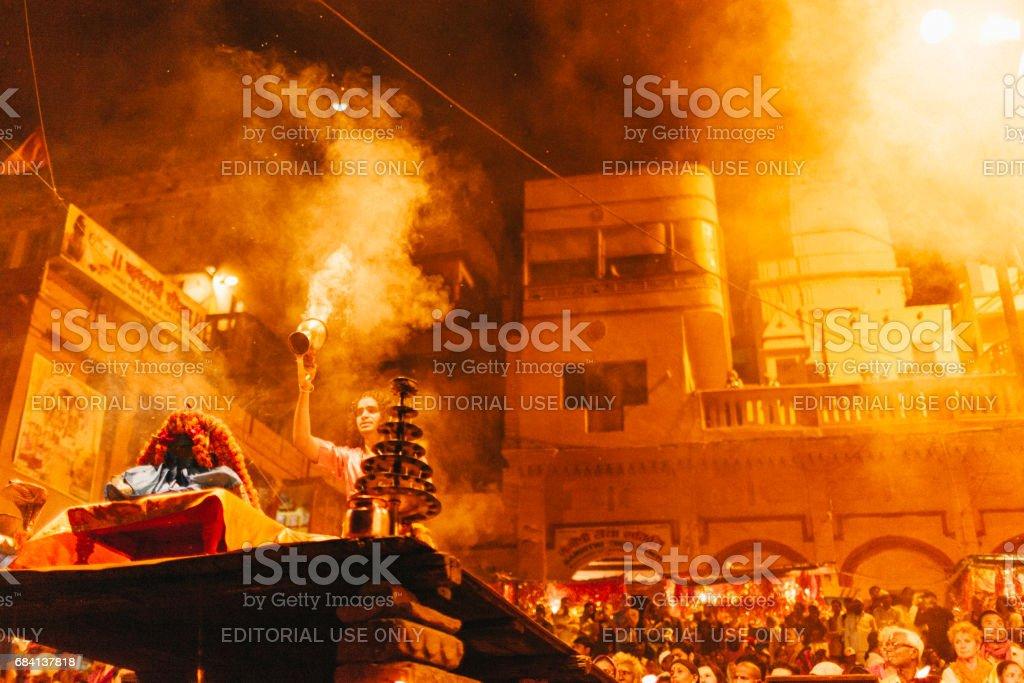 Varanasi Hindu ritual held on one of Varanasi's ghats. zbiór zdjęć royalty-free