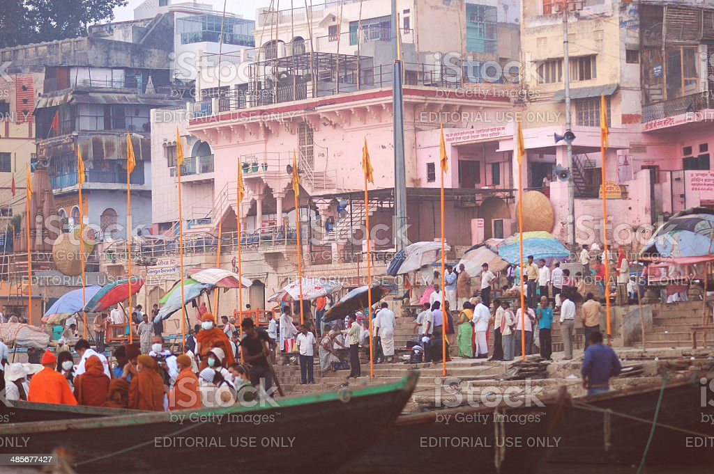 Varanasi holy place by the Ganges royalty-free stock photo