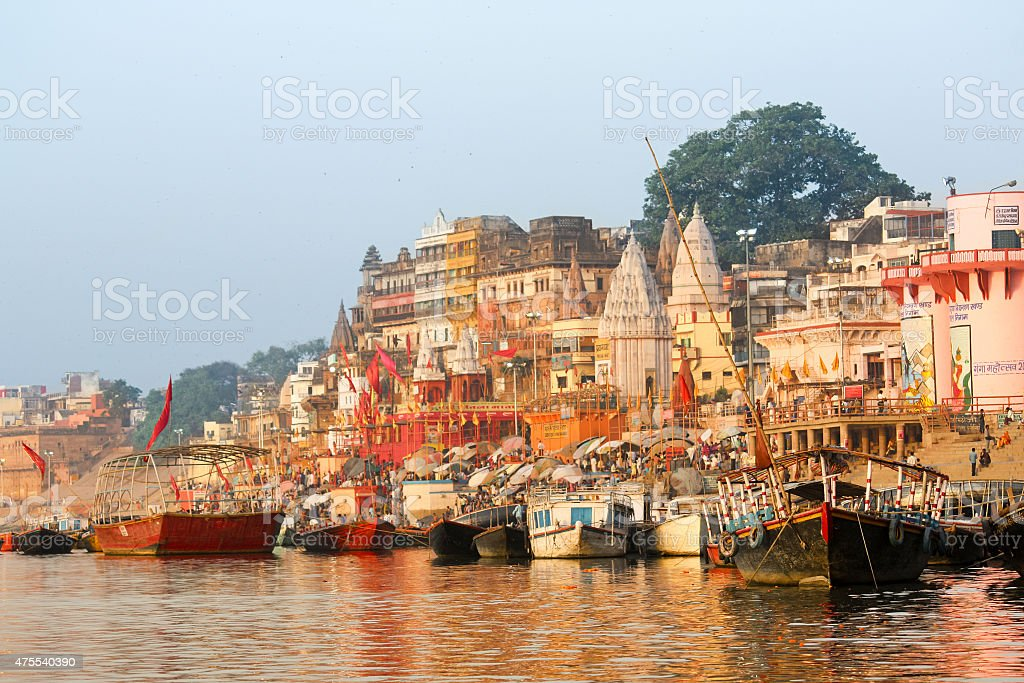 Varanasi India Ganges River Bank with colorful Temples stock photo