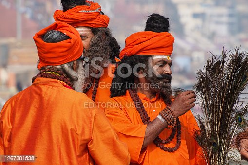 Varanasi, India - Dec 23, 2019: Sadhu at the ghats in Varanasi, Uttar Pradesh, ascetic holy mans in India