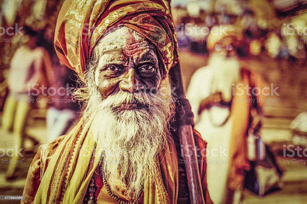 Varanasi Sadhus stock photo