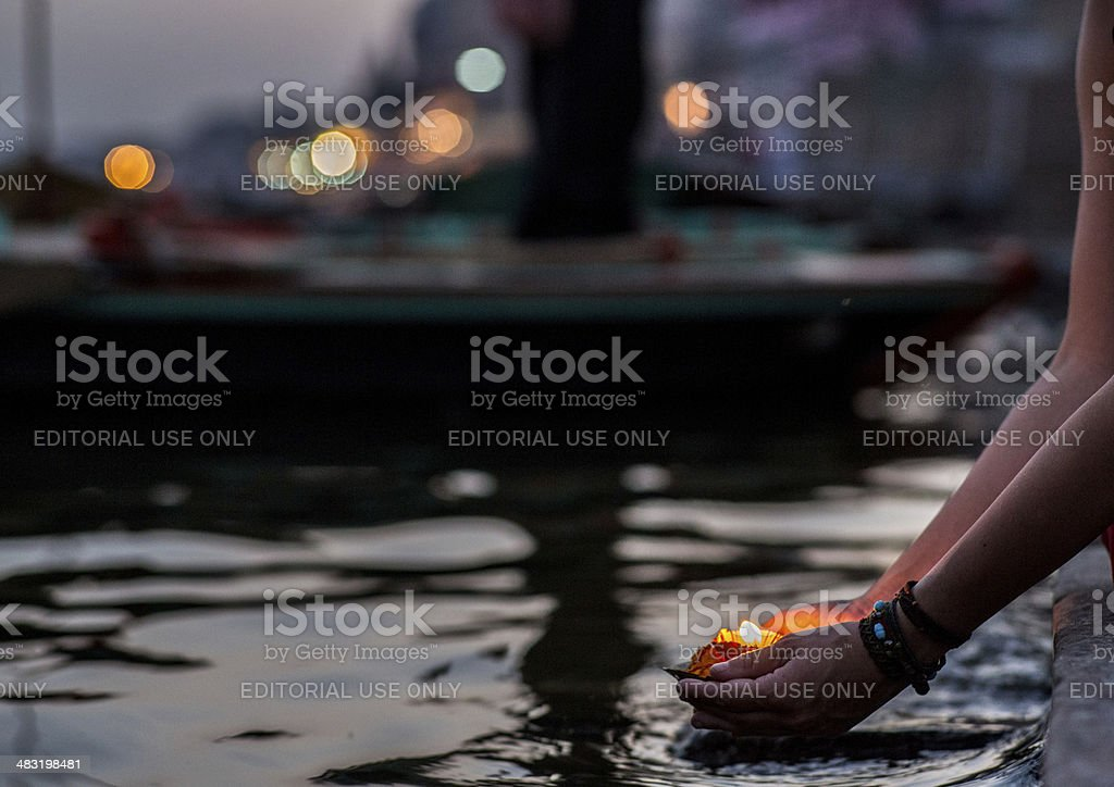 Varanasi_flower_puja stock photo