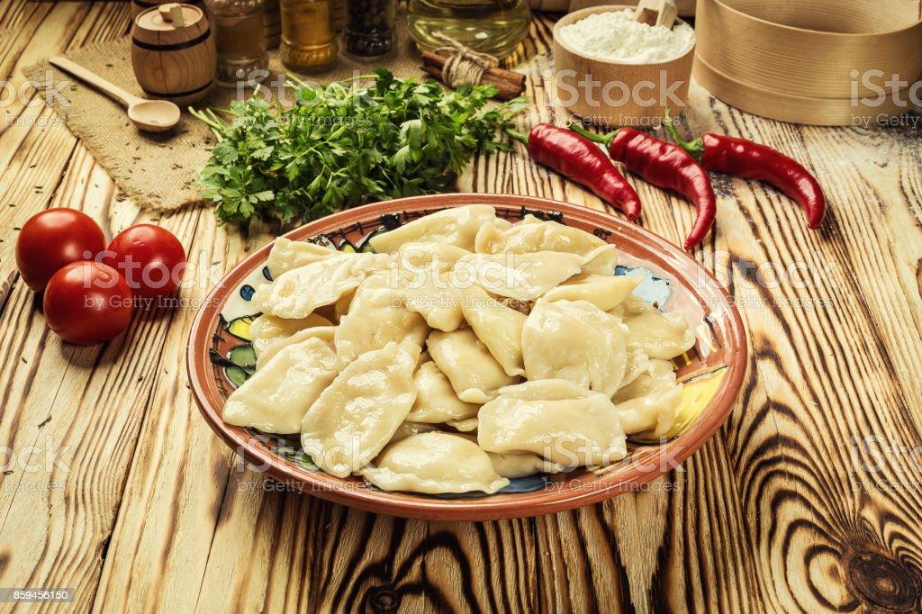 Vareniki Pierogi Cuisine Ukrainienne Traditionnelle Cuit Et Servi