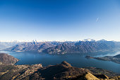 A view of Varenna and Bellafio from mount Crocione on a sunny winter day.