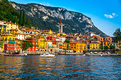 View of Varenna village on lake Como, at sunset. Lombardy, Italy.