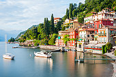 Panoramic view of Lago di Como in Northern Italy and the beautiful village of Varenna at sunset