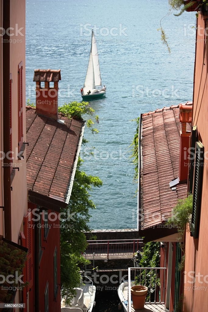 Varenna narrow alley in old village on Lake Como, Italy stock photo