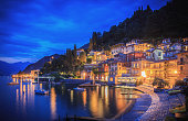 Houses, bars and restaurants in Varenna on the shore of Lake Como, Italy