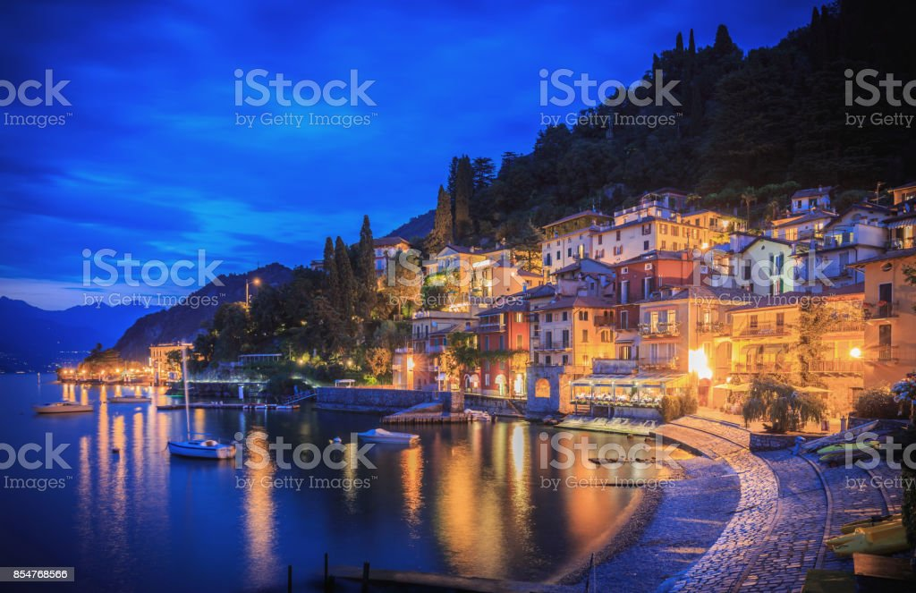 Houses, bars and restaurants in Varenna on the shore of Lake Como, Italy stock photo