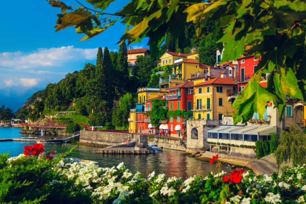 Varenna resort view and flowery ornamental garden, lake Como, Italy stock photo