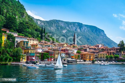 View of Varenna village on lake Como. Lombardy, Italy.