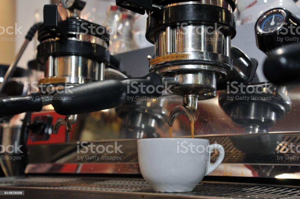 Varese Italy, coffee machine, espresso cups stock photo