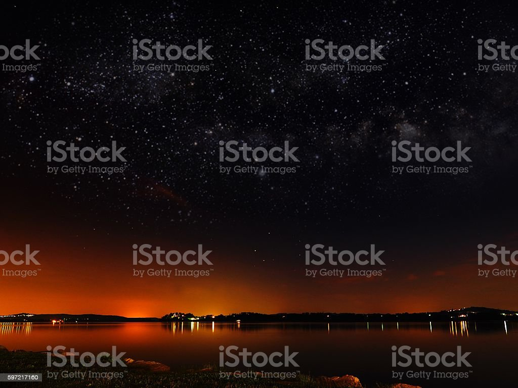 Varese Lake by night stock photo