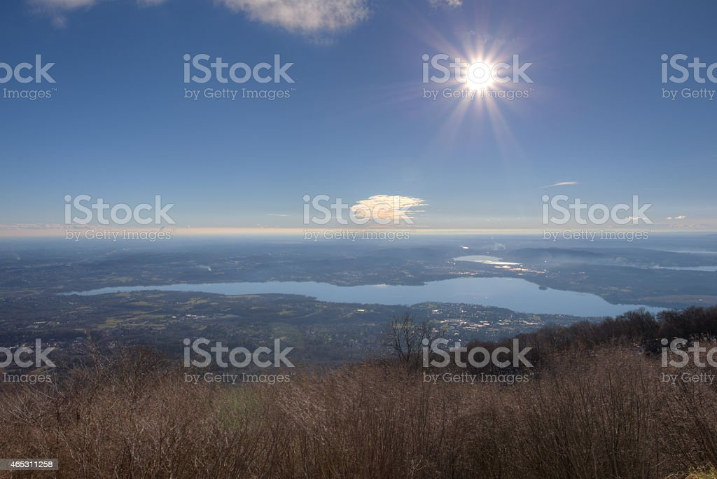 Varese Lake, Italy view from Campo dei Fiori  HDR Image stock photo