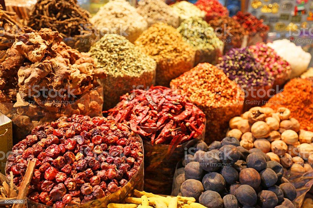 Varety of Oriental Spices for Sale in Dubai Spice Souk stock photo