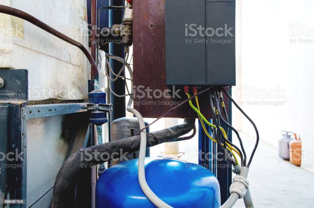 Variable speed drive inverter converter, unit for voltage stabilization stock photo