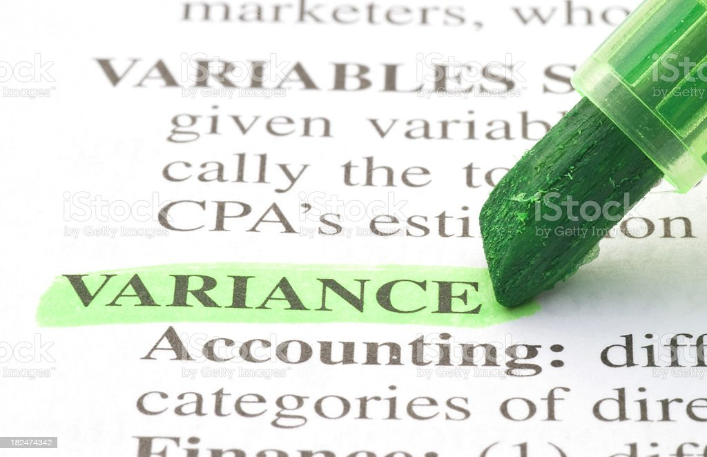 variance word definition highlighted in dictionary royalty-free stock photo